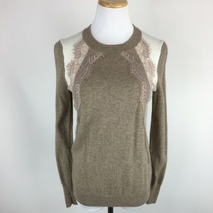 J. Crew wool color block lace panel sweater Sz XS